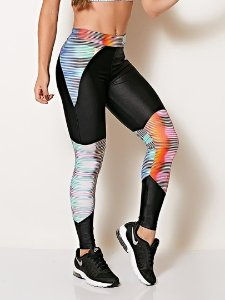 Calça Legging Estampada Stripes - Colcci Fitness