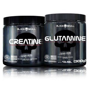 Kit Ganho de Massa Muscular Glutamina (300g) + Creatina (300g) - Black SKull