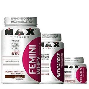 Combo Feminino Massa Magra (Femini Whey+Batata Doce+Colágeno) - Max Titanium