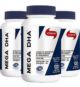 kit 3x mega dha - ômega 3 de alta concentração dha (120 cápsulas) - vitafor