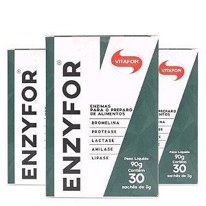 kit 3x enzyfor mix de enzimas 30 sachês de 3g -vitafor