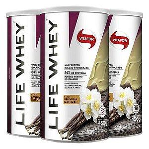 kit 3x life whey 450g baunilha - whey protein hidrolisado e isolado - vitafor