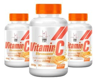 Kit 3x Vitamina C Efervescente + ZINCO 10MG - 30 Comprimidos - Health Labs