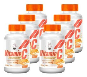 Kit 6x Vitamina C Efervescente + ZINCO 10MG - 30 Comprimidos - Health Labs