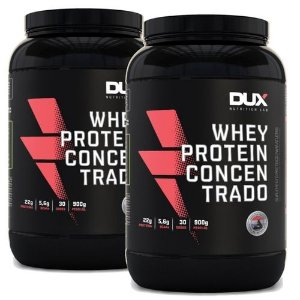 Kit 2x Whey Protein Concentrado - Pote 900g Cada - DUX Nutrition