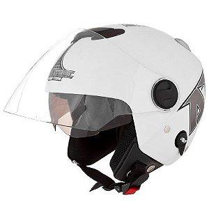 Capacete Moto New Atomic Pro Tork Aberto Branco Fosco