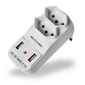 Adaptador 2 Saidas 2P+T com 2 Portas USB Multilaser