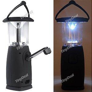 Lanterna de 6 Leds solar com Manivela para carregamento manual
