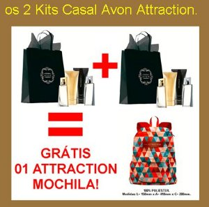 COMBO 2 DUO CASAL ATTRACTION FOR HER + FOR HIM DEO PARFUM - GRÁTIS 1 MOCHILA