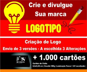 CRIAÇÃO DE LOGOMARCA + 1.000 CARTÕES VERNIZ LOCAL