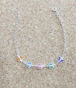 Pulseira Prata 925 - Borboletas Coloridas