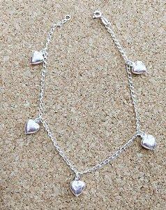 Pulseira Prata 925 - 5 Corações