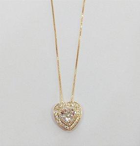 Colar Semi Jóia - Coração Cristal
