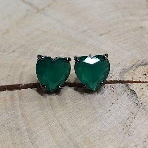 Brinco Coração Verde Esmeralda