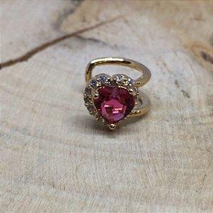 Piercing Fake Coração Zircônia Cristal Rubi Rosa