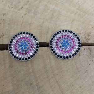 Brinco Mandala Mini Zircônia Colorida