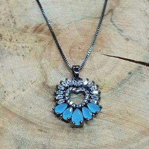 Colar Coração Zircônia Azul Aquamarine e Cristal