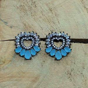 Brinco Coração Zircônia Azul Aquamarine e Cristal