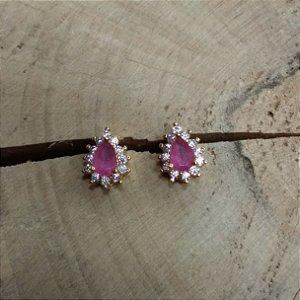 Brinco Gota Zircônia Cristal e Rubi Rosa