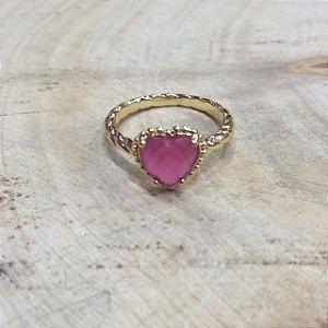 Anel Coração Zircônia Rubi Rosa