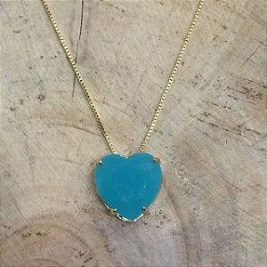 Colar Coração Azul Leitoso