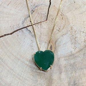 Colar Coração Verde Leitoso