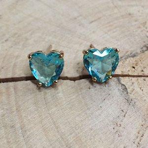 Brinco Coração Zircônia Azul Cristal