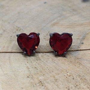 Brinco Coração Zircônia Vermelho