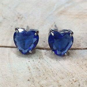 Brinco Coração Topázio Azul