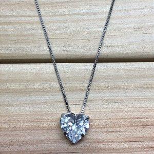 Colar Coração Zircônia Cristal
