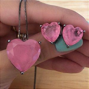 Conjunto Coração Rosa