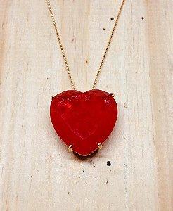 Coração Grande Zircônia Vermelha Fusion