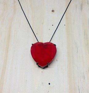 Colar Coração Grande Vermelho Fusion