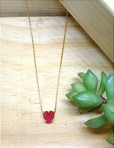 Colar Coração Rubi Rosa Dourado