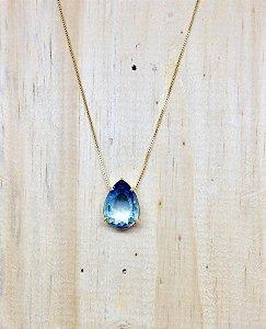 Colar Gota Média Bicolor Azul Cristal