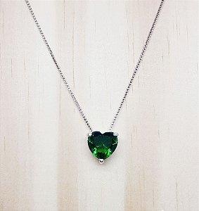 Coração Verde Folha Cristal