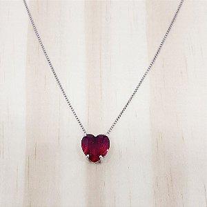 Colar Coração Vermelho Rubi