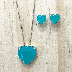 Conjunto Coração Médio Azul Leitoso