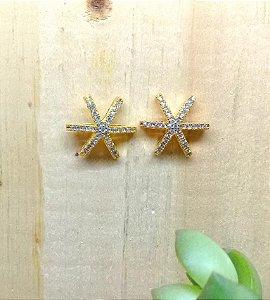 Brinco Estrela Cravejada Dourado
