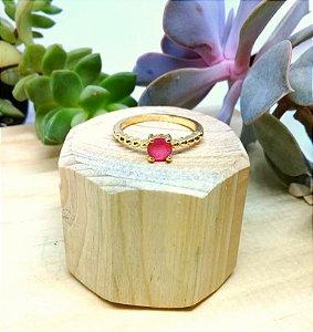 Anel Rubi Rosa Dourado