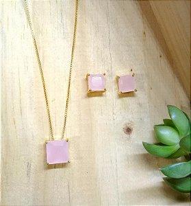 Conjunto Quadrado Quartzo Rosa Dourado