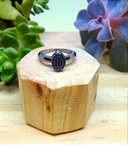 Anel Lápis Lazuli Ródio Negro