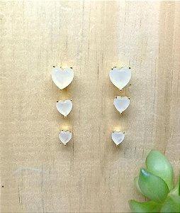 Brinco Trio Coração Vela Dourado