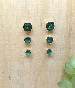Brinco Trio Bolinha Verde Paraíba Dourado