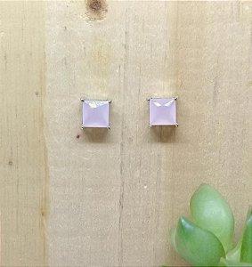 Brinco Quadrado Quartzo Rosa Ródio Branco