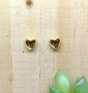 Brinco Coração Liso Dourado