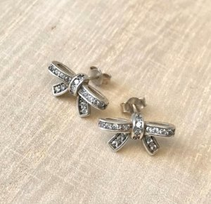 Brinco Laço c/ Mini Zircônias Prata 925