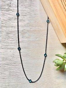 Colar Tiffany Aquamarine Ródio Negro