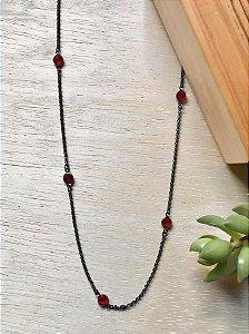 Colar Tiffany Vermelho Ródio Negro