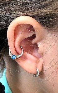 Piercing Fake Azul Prata 925